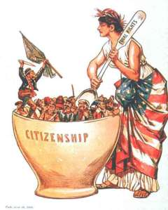 Late 19th century political cartoon- the melting pot as the equalizer and path to citizenship.